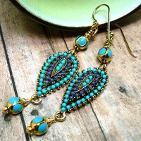 Turquoise and Navy Blue Beaded Handmade Gold-Filled Dangle Earrings