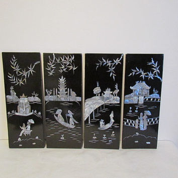 Vintage Asian Mother Of Pearl Black Lacquered Panels Set of Four