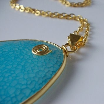 Blue Jade Gemstone Necklace in Gold Pendant by BoreasDesign