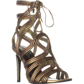 BCBGeneration Jax Heeled Sandals, Python Print Oro Multi, 6 US / 36 EU