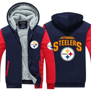 2017 Fashion mens Hoodies Steelers Novelty hoodies thicken fleece winter coat zipper jacket