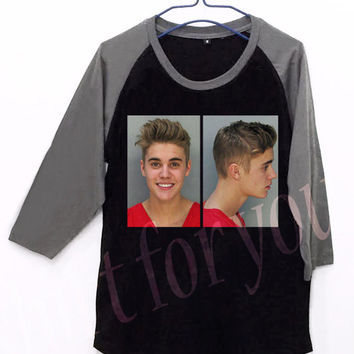Justin Bieber Mug Shot Unisex Men Women Black Long Sleeve Baseball Shirt Tshirt Jersey