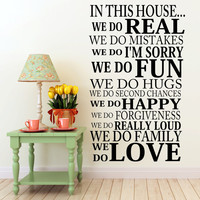 In This House.. Family Rules Vinyl Wall Decal Sticker Art