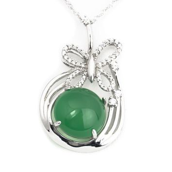 Green Jadeite jade butterfly sterling silver necklace