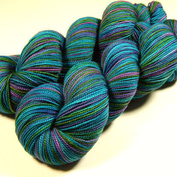 Hand Dyed Yarn - Sock Weight Superwash Merino Wool Yarn - Aegean Multi - Knitting Yarn, Sock Yarn, Wool Yarn, Turquoise