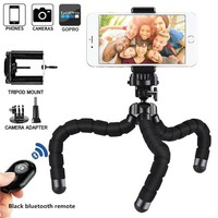 Phone Tripod,  Flexible Octopus Style Camera Phone Holder Mount Stand with Bluetooth Remote Shutter for Smartphone, Gopro etc