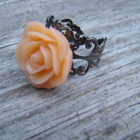 Cabochon Resin Flower Ring on Adjustable Filigree by KnitCraftSew
