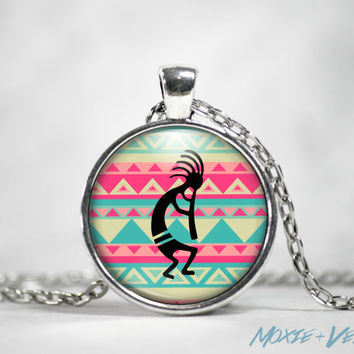 Kokopelli Necklace, Tribal, Fertility, Music, Native American, Glass Photo Jewelry
