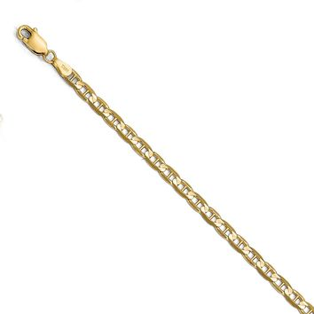 3.75mm 14k Yellow Gold Solid Concave Anchor Chain Necklace