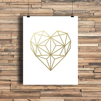 Geometric Heart Faux Gold Foil Art Print - Geometric Art - Home Bedroom Decor - Wedding Gift - Wedding Decor - Minimalist - Simplistic Decor