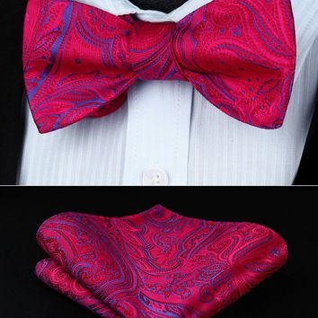 BP937RS Red Hot Pink Paisley Bowtie Men Silk  Self  Bow Tie handkerchief set