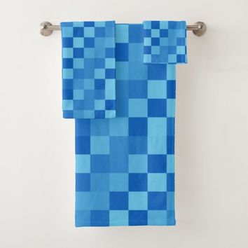 Shades of Blue Checkers Bath Towel Set