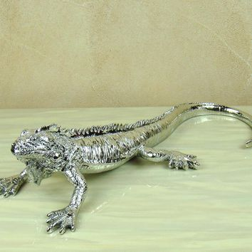 Silver Lizard Statue Electroplated Resin Cabrite Sculpture Reptile Animal Uniqueness Home Decor Handicraft Ornament Accessories