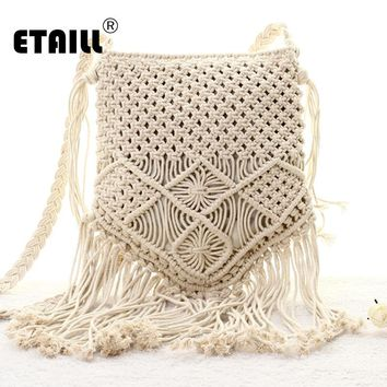 New Bohemian Boho Summer Straw Weave Bag Handmade Pompon Tassel Crochet Knitting Famous Brand Crossbody Bags Casual Shoulder Bag