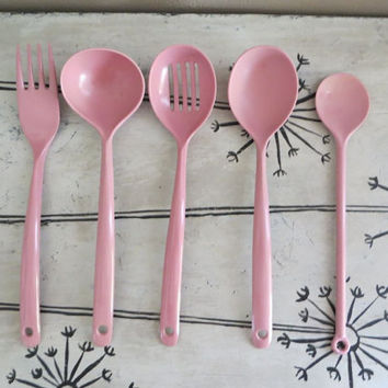 Melamne Utensils Copco Utensils Serving Spoon Mauve Serving Set Melamine Serving Utensils Mauve Copco Spoon Wedding Gift Kitchen Utensils