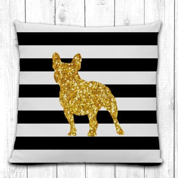French Bulldog Silhouette Pillow - Black and White Stripe with Gold Silhouette - Modern Home Decor Living Room- dog breed silhouette pillow