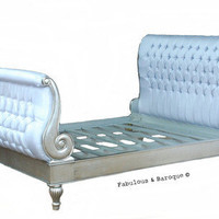 Fabulous  Baroque — Madame Royale Tufted Bed - Silver Leaf  Grey Silk