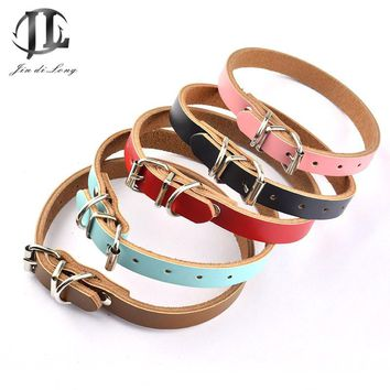 * 2017 Good Quality Leather Pet Collars Luxury Genuine Leather Plain Pet Dog Puppy Collar