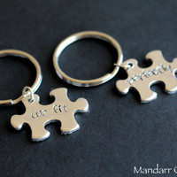 We Fit Perfectly, Puzzle Piece Keychains, Set of Two, Couples Anniversary Gift, His Hers, Relationship Accessory, Hand Stamped Aluminum