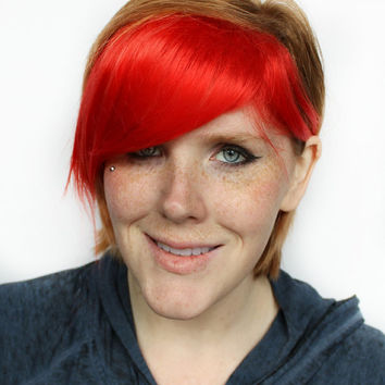 Red Clip in Bangs / Fringe: Dyed Effect // Bright red Hair // Scene Emo Punk Rock // Extension Add On Hair Piece // Fireball