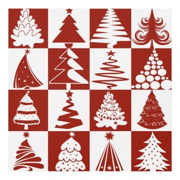 Red And White Christmas Tree Holiday Pattern Panel Wall Art