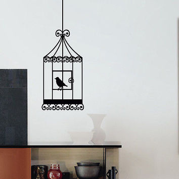 WALL DECAL VINYL STICKER ANIMAL BIRD CAGE BIRDCAGE DECOR SB569