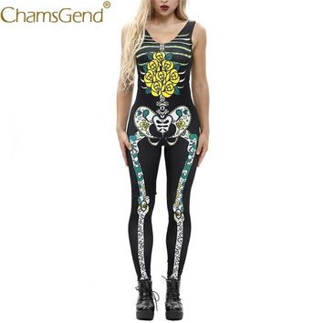 Free Shipping Yellow Rose Skeleton Print Women Jumpsuit Sleeveless Skinny Bodysuits Cosplay Costume For Halloween 80814