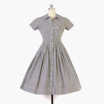 Vintage 50s GINGHAM DRESS / 50s Black & White Check Short Sleeve Cotton Rockabilly Day Dress XS