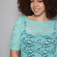 ToTo Collection Sheer Lace Lined Plus-Size Top - Jade