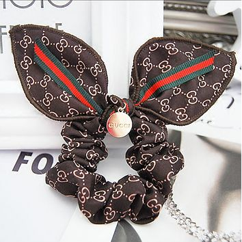 GUCCI classic red and green striped rabbit ear headband Mawei headdress hair ring Dark coffee
