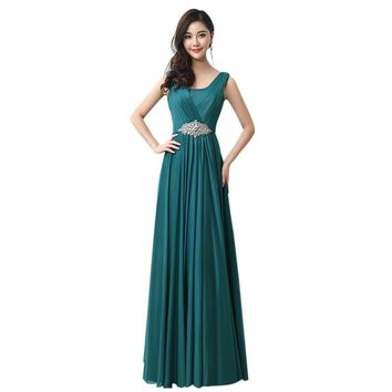 Chiffon Crystal Floor-Length Evening Dress Women Formal Gowns Long Red A-Line  Prom Party Dresses robe de soiree longue