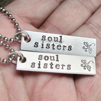 Set of 2 Necklaces SOUL SISTERS Hand Stamped Jewelry Couples Charm Aluminum Tag Stainless Steel Chain