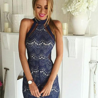 Halter Lace Bodycon Black Dress