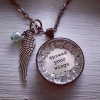 Spread your wings medium glitter surround pendant necklace with wing charm and pastel green pearl bead dangle