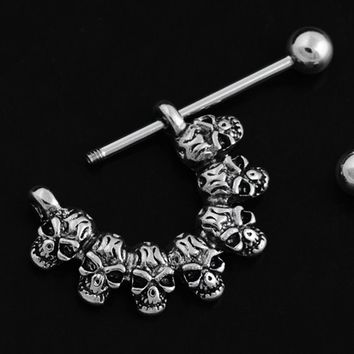 Steel Skull Nipple Rings Shield Nipple Bar Sexy Ring Punk Body Jewellery Nipple Piercing Rings Jewelry For Women Men Jewelry