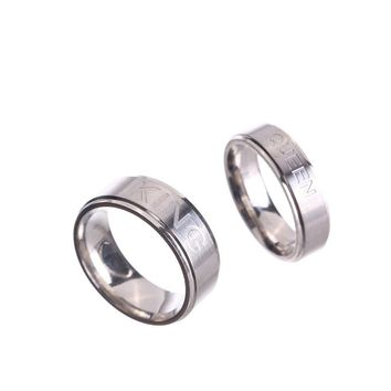 Trendy Valentine's Day Gift Stainless Steel King Queen Lovers Ring Spring Fashion Couple Men Women Anel Masculino Bague Homme Jewelry AT_94_13