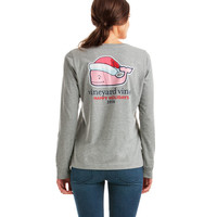 Long-Sleeve Heathered Santa Whale 2016 Pocket Tee
