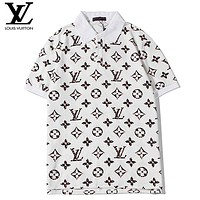 LV Louis Vuitton New fashion monogram print lapel couple top t-shirt White