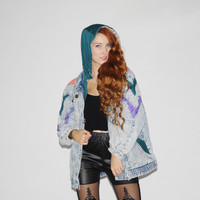 90s Vintage Colorblock Acidwash Denim Jean Bomber Jacket