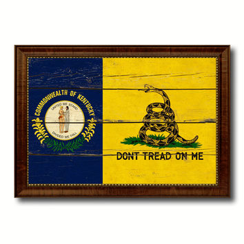 Gadsden Don't Tread On Me Tea Party Kentucky State Military Flag Vintage Canvas Print with Brown Picture Frame Gifts Ideas Home Decor Wall Art Decoration