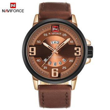 NAVIFORCE NF9086 Luxury Sports Men's Quartz Leather Army Military Watch