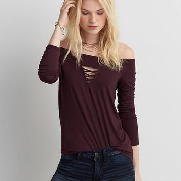 AEO Soft & Sexy Off-The-Shoulder T-Shirt, Burgundy