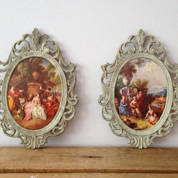 Brass Oval Picture Frame - Pair - Ornate Brass Picture Frame - Italy