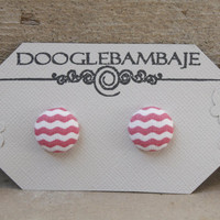 Pink Wave Effect Design- Pink and White Wave Wavy Chevron Fabric Button Earrings Stud Post- Wedding