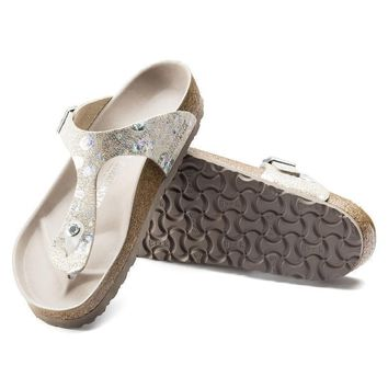 Sale Birkenstock Gizeh Lux Leather Spotted Metallic Silver 1006744 Sandals