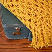 Chunky Granny Square Blanket - Yellow from Five Sixteenths