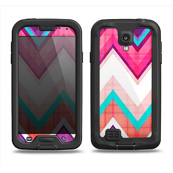 The Vibrant Pink & Blue Chevron Pattern Samsung Galaxy S4 LifeProof Fre Case Skin Set