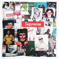 Hot 57pcs/set Supreme Stickers Fashion brand sexy high quality waterproof PVC For Suit