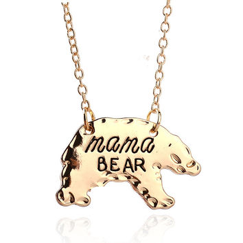 Kittenup New Fashion Gift for mother's Day Mama Bear Alloy Animal Pendant Necklace For Women