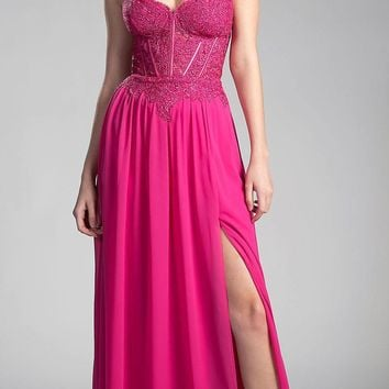 Fuchsia Strapless Sweetheart Long Formal Dress Embroidered